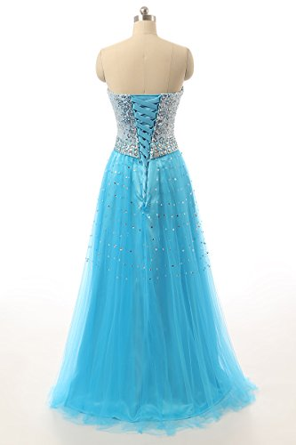 Prom Formal Gown Long HSD085 Blue Dress Women's House Sequins 2017 Belle Evening qwgX87Sxz