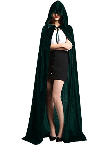 Satinior Unisex Full Length Hooded Cloak Adult Velvet Cape Halloween Party Cosplay Costume Cloak (XL Size, Velvet Green)