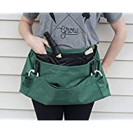 Roo Garden Apron - The Joey - Gardening, Work and Harvesting Tool Belt with Storage Pockets and Canvas Pouch - Womens One Size Fits All - Cotton Canvas, Machine Washable - Leaf Green