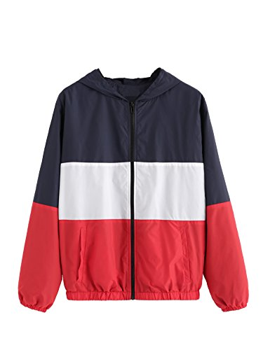 ROMWE Women's Casual Color Block Hoodie Outdoor Zip Up Hooded Windbreaker Jacket M