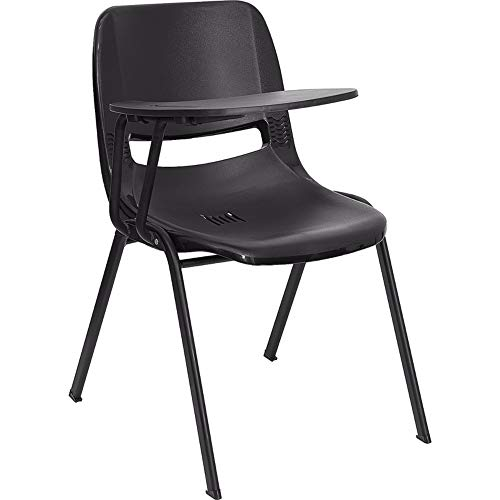 Offex Ergonomic Shell Chair with Right Handed Flip-up Tablet Arm - Black