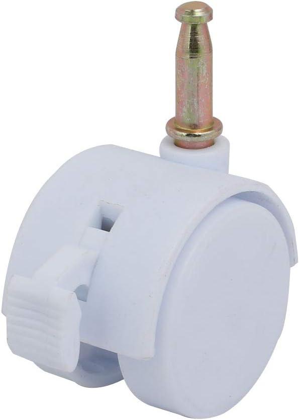 Aexit 2pcs 1.5-inch Dia 6.5mm Stem Swivel Brake Rueda de rueda blanca para cuna model: I7732VIX-6316JN
