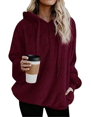 Abrigo mujeres con con sólido de sudadera de capucha sintética Haokan sólido piel capucha US del Red la Color Wine tamaño tamaño grande extra Hoode las de la XS de sudadera de dnUqwS8x
