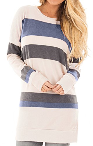 Women Loose Longsleeve Striped Knitted Sweatshirt Tunic Tops Casual Color Blocked Cotton T Shirts Blue XL
