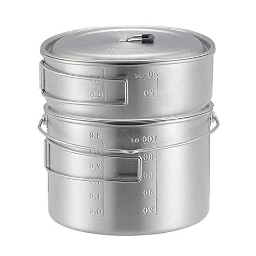 Solo Stove 2 Pot Set: Stainless Steel Companion Pot Set Campfire. Great for Backpacking, Camping, Survival