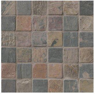 2x2 Mixed Tumbled Slate Mosaic Tiles for Backsplash, Shower Walls, Bathroom Floors, Jacuzzi, Swiming Pools
