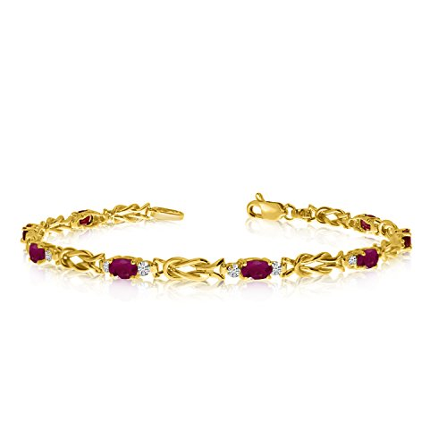 2.80 Carat (ctw) 10K Yellow Gold Oval Red Ruby and Diamond Interlocked Tennis Bracelet - 7