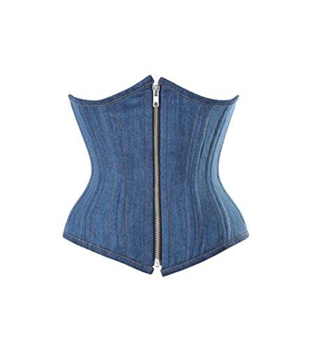 プラグ人工的な非公式Blue Denim Gothic Steampunk Costume Waist Training Bustier Underbust Corset Top