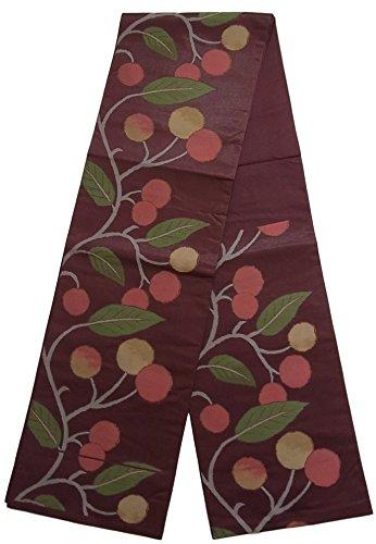 スケジュール気配りのある志すリサイクル 袋帯 果実の枝模様 正絹 六通