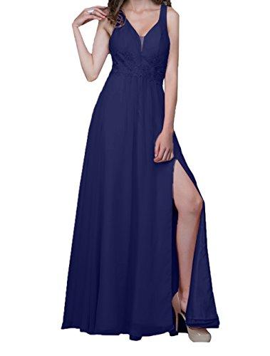 Damen Linie Ballkleider Abendkleider Blau mit Jugendweihe Dunkel Festlichkleider Charmant Lang Kleider Chiffon Stickreien A RwCdWgqn