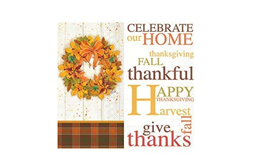 Guest Towel Bundle in An Autumn Thanksgiving Theme: Includes (1) 16 count Fall Wreath and (1) 16 count Celebrate Our Home by TLP Online