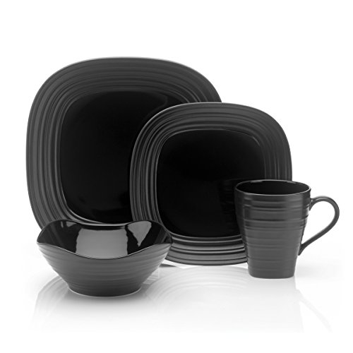 - Mikasa Swirl Black Square 4-Piece Place Setting, Service for 1