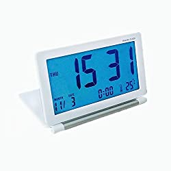 GenLed Travel Alarm Clocks, Silent LCD Digital Screen Desk Clock with Soft Blue Backlight, Date/Time/Calendar/Temperature Display, Snooze, Folding Clock (White)