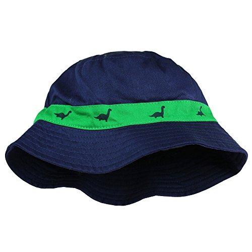 (Little Me Safari Outdoor Twill Bucket Toddler Boys Sun Hat Navy Blue Dino 2T-4T)