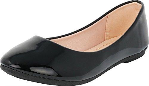 Cambridge Select Women's Classic Closed Round Toe Slip-On Ballet Flat,9 B(M) US,Black Patent Pu