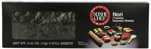 Sushi Chef Nori (Toasted Seaweed Sheets), 5 Count Full Sheets, 0.45 Ounce - Seaweed Toasted Sushi