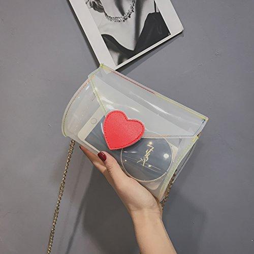 Crossbody Gold Mini Women White Chain Hologram Handbag Clutch Clear Bag Shoulder Purse w0nE0rpq