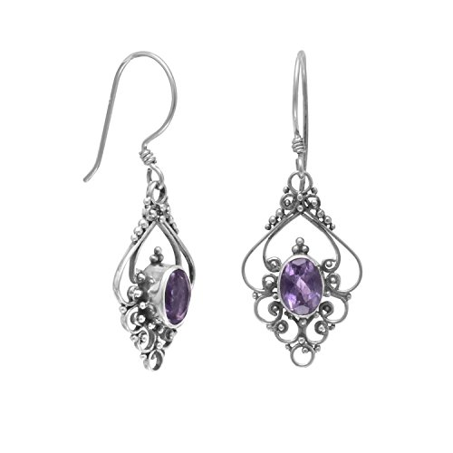 French Wire Scroll Design Earrings - Sterling Silver French Wire Earrings With Scroll Design and Amethyst