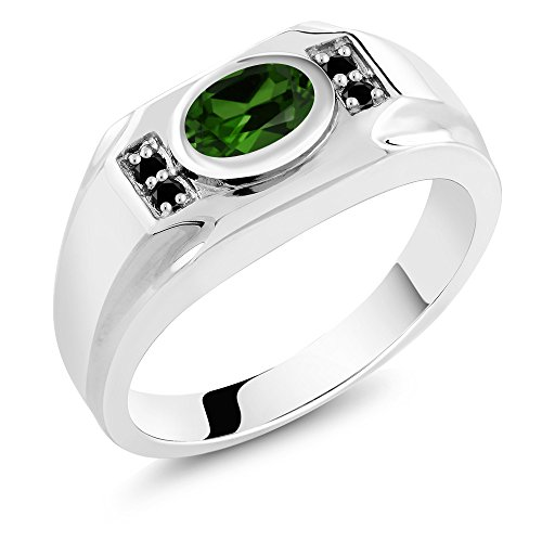 - 2.23 Ct Oval Simulated Emerald and Black Diamond 925 Sterling Silver Men's Ring
