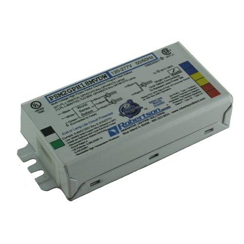 ROBERTSON 3P20165 PSM2GPH18MVDW Fluorescent eBallast for 2/1 PL-L18W/TUV, GPH212T5 thru GPH463T5 Lamps, 1 PL-36W/TUV, TUV36W, GPH463T5 thru GPH810T5 Lamps, 120-277Vac, 50-60Hz, NBF, HPF