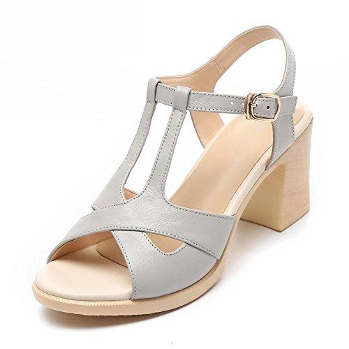 YC fonds chaussures 35 chaussures confortables femmes sandales silky L femmes talon été blanc skid Girls sandales cuir à haut PY75WqWwUx