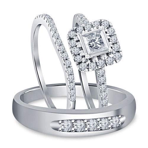 Used, DiscountHouse4you Princess Cut CZ His and Hers Halo for sale  Delivered anywhere in USA