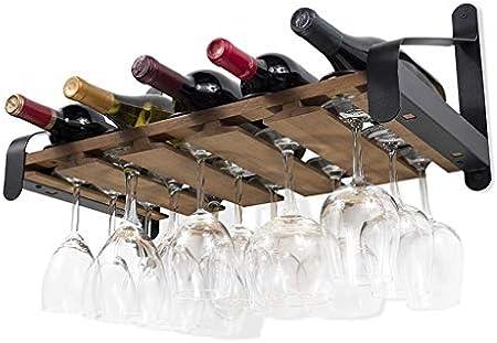 Botelleros Estantes de Vino Metal Vintage montados Pared o Botellas de Licor | Organizador bastidores Madera Stemware Rústico, para Bar/Cocina/Gabinete