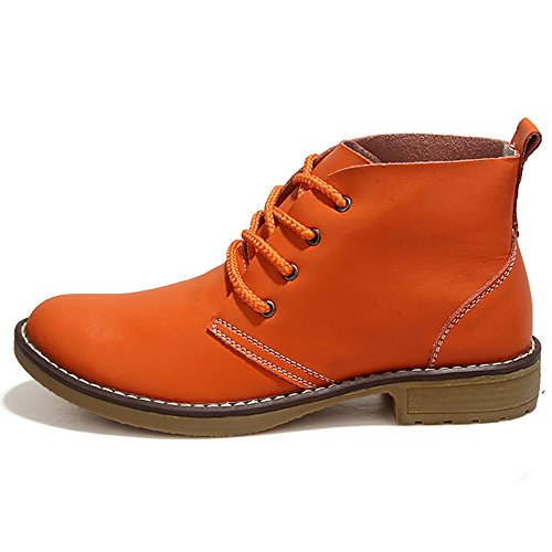 Image of Weideng Candy Color Fashion Women Lace up Genuine Leather Classic Shoe High Style Flat Casual Shoes Boots