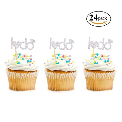I Do Cupcake Toppers Engagement Wedding Bridal Shower Party Cake Decorations (Silver)