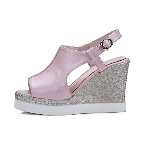 AmoonyFashion Womens High-Heels Solid Buckle Soft Material Open Toe Sandals Pink wQ4H2kRg