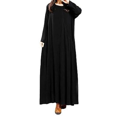 Lino e Cotone Vestiti Manica Lunga Donna Elegante LandFox Sexy Abito Casual  Vestito Lungo Allentato da dcac1da9998