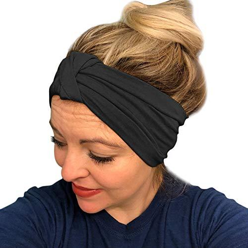 URIBAKE Women Stretch Headbands Solid Wide Hair Wrap Accessories Knot Headband Black