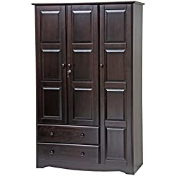 "100% Solid Wood Grand Wardrobe/Armoire/Closet by Palace Imports, Java, 46"" W x 72"" H x 21""D"