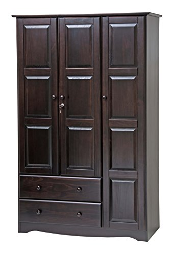"""100% Solid Wood Grand Wardrobe/Armoire/Closet by Palace Imports, Java, 46"""" W x 72"""" H x 21""""D"""