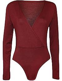 Commencer Women's Cross Over Wrap V Neck Long Sleeve Bodysuit Shirt Leotard Top
