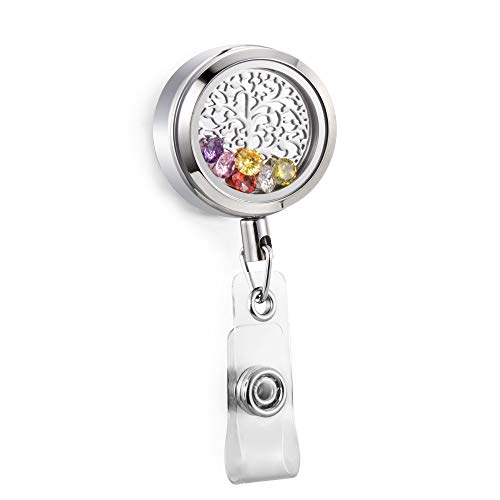 Fire Department Badge Charm - CAPTTE Wear-Resisting and Retractable Badge Holder Reel Clip 316L Stainless Steel Memory Floating Locket Charms ID Badge Holder for Nurse Free 6 Pcs Birthstone