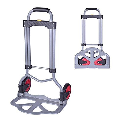 Windaze Compact Collapsible Luggage Cart,Steel Folding Dolly Push Hand Truck Travel Shopping Supermarket Trolley 170 Lbs Capacity