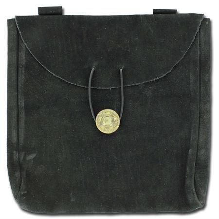 Large Medieval Renaissance Black Leather Suede Belt Pouch