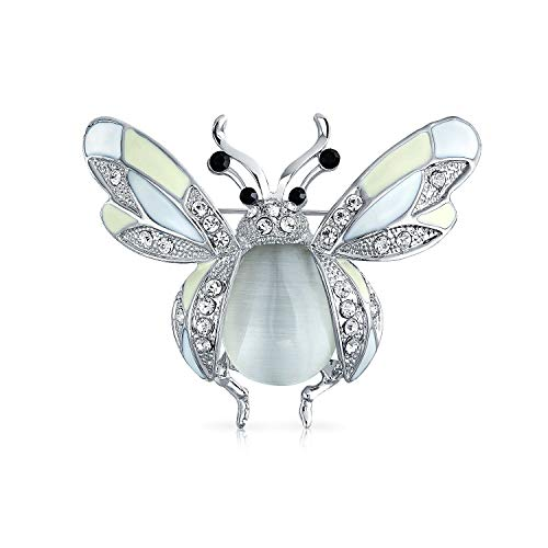 - Bling Jewelry White Yellow Large Garden Insect Dragonfly Queen Bumble Bee Brooch Pin for Women Silver Plated Brass