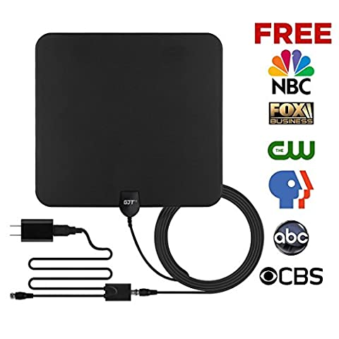GJT Amplified Antenna HDTV Digital TV Antenna 50 Miles Range Indoor High Reception with Detachable Signal Booster for Free Channel,10ft High Performance Coax Cable with (Uhf To Hdmi Adaptors)