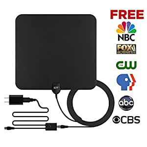 GJT Amplified TV Antenna HDTV Digital Antenna 50 Miles Range Indoor High Reception with Detachable Signal Booster for Free Channel,10ft High Performance Coax Cable with Adapter