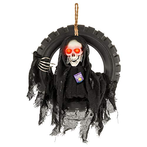 (Halloween Haunters Animated Hanging Talking Jumping Forward Moving Reaper Skull Skeleton Head in Tire Swing Prop Decoration - 16