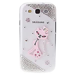 WEV Kitten Jewel Pattern Transparent Hard Back Cover Case with Glue for Samsung Galaxy S3 I9300