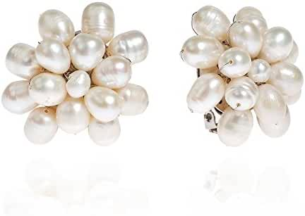 Pretty Cultured Freshwater White Pearls Cluster Clip On Earrings