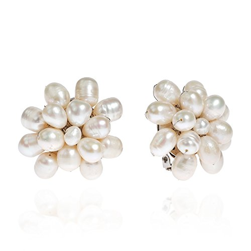Of Earrings Mother Turquoise Pearl (Pretty Cultured Freshwater White Pearls Cluster Clip On Earrings)