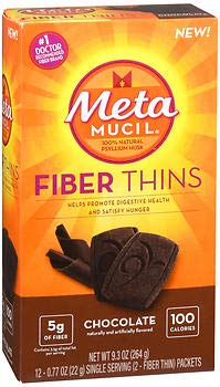 Meta Mucil Fiber Thins Chocolate - 24 ct, Pack of 6