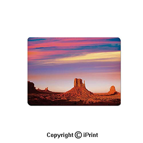 Thick 3mm Gaming Mouse Pad Monument Valley West Mitten and Merrick Butte Sunset Utah Desert Personality Design Non Slip Rubber Mouse Mat,7.1x8.7 inch,Dark Orange Pink Blue (Sims 3 Sunset Valley)