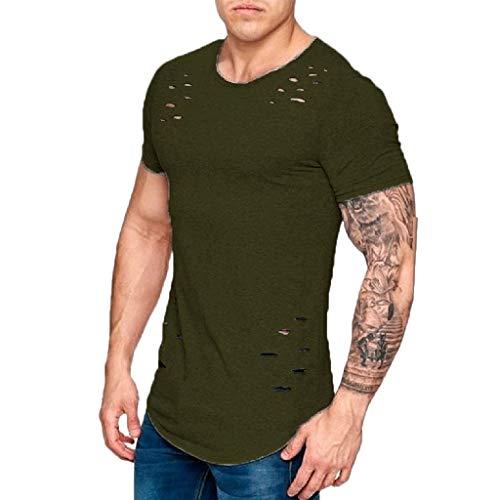 Men Summer Slim Short Sleeve T Shirt Broken Holes Irregular Hem Casual Solid Tops Coffee