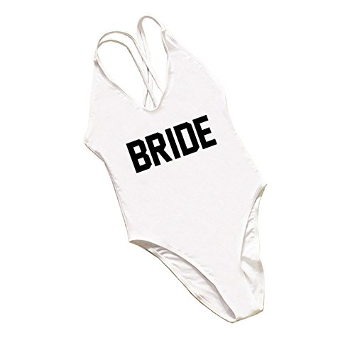 Bride One Piece Swimsuits for Women High Cut and Low Back Tummy Control White Bride Bathing Suit