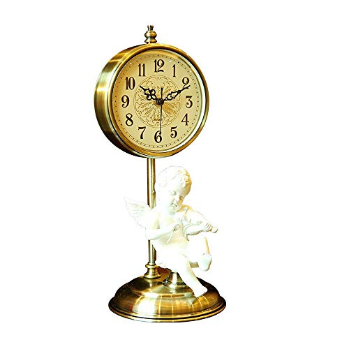 ZHFHA Desk Clock Head Mute Clock Decoration Ornaments Creative Home Pendulum Clock Bedroom Coffee Table Decoration Clock Gold